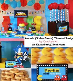 AWESOME Arcade video game themed birthday party with tons of ideas! Focus on Pacman