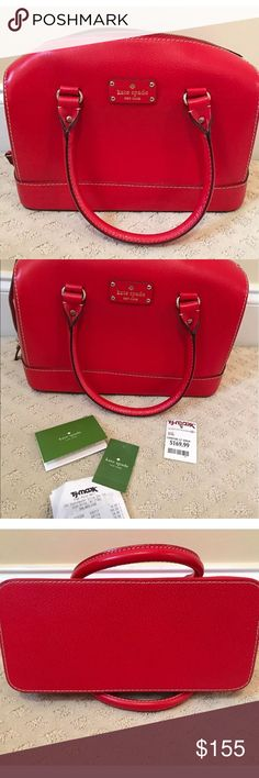 Kate Spade Kaleigh bag in geranium color Beautiful Kate Spade bag purchased from TJ Max, with original tags. Color is a beautiful red called Geranium. Carried a few times, excellent, like new condition! kate spade Bags Satchels
