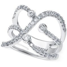 Diamond Crossover Ring in 14k White Gold (3/4 ct. t.w.) ($2,111) ❤ liked on Polyvore