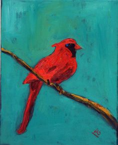 RED Robin Bird Painting ORIGINAL - Turquoise Red Bird Art Painting on Canvas 8x10  - Whimsical ART by Abbie Blackwell. $35.00, via Etsy.