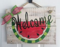Watermelon welcome sign by onecraftEchick on Etsy Wood Block Crafts, Wooden Crafts, Wooden Diy, Wooden Signs, Painted Signs, Wood Blocks, Watermelon Crafts, Watermelon Patch, Watermelon Ideas