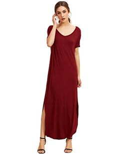 MakeMeChic Womens Casual Loose Pocket Long Dress Short Sleeve Split Maxi Dress Burgundy L * Read more reviews of the product by visiting the link on the image.
