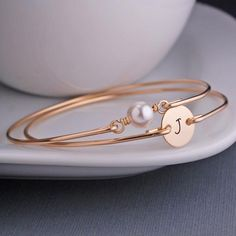 Gold Swarovski Pearl and Initial Set