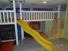 Indoor Basement Kids Playground - Complete with slide, stairs, tunnel, mirror and chalkboard.