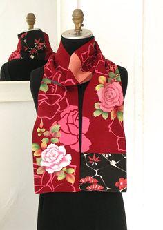 Silk Kiono Scarf, Amazing Japanese Vintage Versitile Scarf, Vintage Yuzen-dyed Silk, Rose Rose