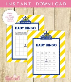 Nautical Baby Shower Bingo Cards Blank Bingo Cards in Blue and Yellow Classy Bingo Game Instant Download Baby Shower 0001A-Y TppCards by TppCardS #tppcards #printable #invitations