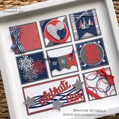 art stampin up Celebrate USA Framed Art Box Frame Art, Shadow Box Frames, 3d Paper Crafts, Paper Art, Paper Crafting, Art Encadrée, Collage Frames, Collages, Collage Ideas