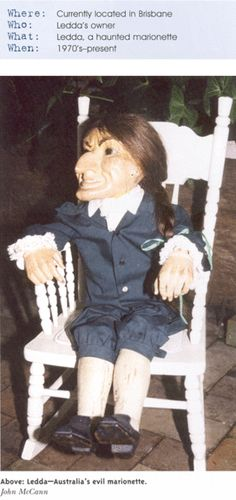Ledda. Australia's creepiest haunted object is a supposedly possessed marionette. Around 20 years ago, Mr W and Ledda made an appearance on national television. The doll was seated in Mr W's lap. At one point the doll inexplicably turned it's head toward the camera.    You could hear the wood creaking as it turned around prompting one frightened cameraman to flee his post and dash out the back of the studio. It is estimated that the doll is 250 yrs. old.