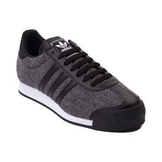 Mens adidas Samoa Textile Athletic Shoe, Black Black White | Journeys Shoes