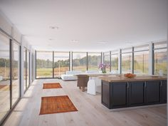 Contemporary House Design with full wall height windows