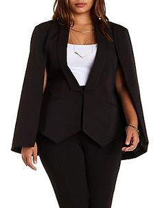 Structured Cape Blazer  Plus Size Tops & Shirts: Charlotte Russe