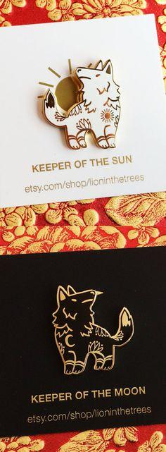 Keeper of the Sun Keeper of the Moon, Wolves, Enamel Pin, Etsy Shadowhunters, Jacket Pins, Pin And Patches, Jacket Patches, Cool Pins, Hard Enamel Pin, Metal Pins, Pin Badges, Lapel Pins