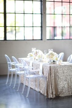 Peonies and sequins seem like a match made in wedding heaven and when you add crisp, contemporary details like ghost chairs and lucite name tags into the mix, its all out modern romance as seen through the lens of Yasmin Khajavi Photography. Take one idea like sparkling linens or the whole shebang crafted by Zest Floral and…