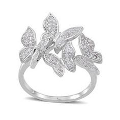 ELANZA AAA Simulated White Diamond (Rnd) Butterfly Ring in Rhodium Plated Sterling Silver