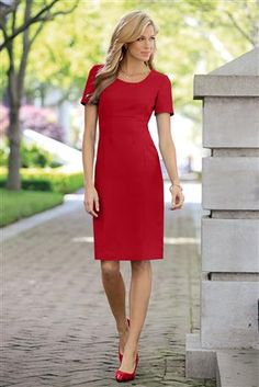 Shop Chadwicks of Boston for our All Seasons Crepe Short Sleeve Sheath Dress. Browse our online catalog for more classic clothing, shoes & accessories to finish your look. Nice Dresses, Short Sleeve Dresses, Dresses For Work, Summer Dresses, Casual Dresses, Short Sleeves, Petite Dresses, Office Outfits, Work Outfits
