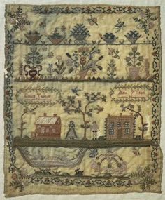 Lucilla Thurow finished her pretty sampler when she was just nine years old, the year 1826, beautiful work Lucilla!