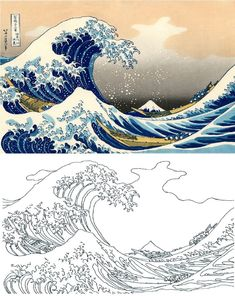 Katsushika Hokusai Coloring Pages - The Great Wave of Kanagawa Coloring Pages - # . - Katsushika Hokusai Coloring Pages – The Great Wave of Kanagawa Coloring Pages – - Aesthetic Painting, Aesthetic Drawing, Wave Drawing, Painting & Drawing, Sea Drawing, Hokusai Paintings, Wave Paintings, Art Sketches, Art Drawings