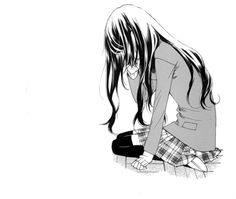 Image discovered by ♚ 死神 ♚. Find images and videos about black and white, anime and sad on We Heart It - the app to get lost in what you love. Manga Girl Sad, Anime Girl Crying, Manga Anime Girl, Sad Girl, Manga Art, Anime Tumblr, Anime Triste, Anime School Girl, Long Black Hair
