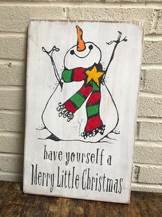 Hand Painted Wooden Christmas Snowman Sign Christmas Door Wreaths, Christmas Signs Wood, Christmas Door Decorations, Holiday Signs, Christmas Countdown Calendar, Christmas Chalkboard, Merry Little Christmas, Christmas Snowman, Christmas Ideas
