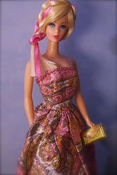 Barbie is wearing a vintage 'Mommy-made' dress and a Hair Fair hair piece Baby Barbie, Barbie Hair, Barbie And Ken, Barbie Clothes, Barbie Sets, Pink Barbie, Beautiful Barbie Dolls, Barbie Dream, Vintage Barbie Dolls
