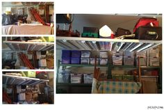 Overstuffed Garage Before and After. Use clear containers, labels and bakers racks for garage organizing. Use hanging racks for additional, above-car storage. Keep like items grouped together: car stuff together, all holiday on one shelf/rack, memorabilia together, old tax records together, etc. Consign or Donate furniture that is crowding your space. This client is taking the bed to consignment to cash in on her clutter.  http://www.BayAreaProfessionalOrganizer.com