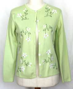 Get it at Bad Reputation! Eagle's Eye Light #Green #CottonCardigan Embroidered #WhiteFlowers - #Small #EaglesEye #Cardigan #Cotton #Sweater #LightGreen #Spring #Springtime #Easter #Church #Flowers
