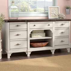 Beachcrest Home Georgetown Wide 7 Drawer Buffet Table White Sideboard Buffet, Buffet Cabinet, Wood Sideboard, Credenza, Kitchen Buffet, Kitchen Island, Kitchen Sinks, Kitchen Reno, Kitchen Cabinets