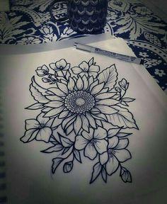 Sunflower drawing sunflower tattoo shoulder, flower tattoos on shoulder, thigh tattoo flowers, henna 16 Tattoo, Tattoo Diy, Get A Tattoo, Tattoo Moon, Tiny Tattoo, Tattoo Quotes, Finger Tattoos, Body Art Tattoos, New Tattoos