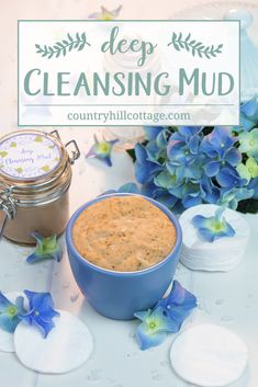 Learn how to make a DIY deep cleansing mud with essential oils. This homemade natural facial cleanser cleans gently yet effectively and works great for all skin types. The base is made of Ghassoul mud, a clay that's rich in minerals and anti-bacterial. The mud is perfect to treat acne-prone, sensitive and irritated skin. #acnetreatment #cleansingmud #skincare #beautyrecipe #diybeauty #clearskin | countryhillcottage.com Homemade Skin Care, Homemade Moisturizer, Diy Skin Care, Homemade Beauty, All Natural Skin Care, Anti Aging Skin Care, Natural Beauty, Mud Recipe, Natural Facial Cleanser