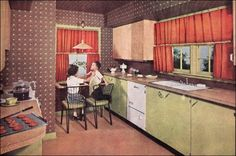 50s Brown and green kitchen with wallpaper