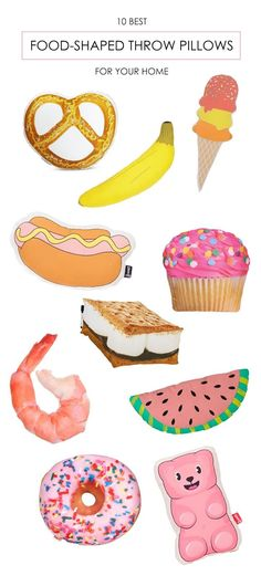 The 10 Best Food-Shaped Throw Pillows, including hot dogs, donuts and gummy bears!