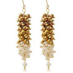 Unique Gold Crystal Bead Bohemian Ball Jewelry Long Earrings Online SKU-10803207