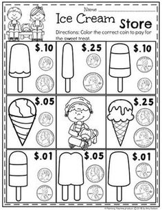 Looking for fun math centers and time and money worksheets? This set is filled with hands-on math activities to practice coin recognition, value of money and telling time. First Grade Worksheets, 1st Grade Math, Tracing Worksheets, Counting Money Worksheets, Summer Worksheets, Handwriting Worksheets, Homeschool Kindergarten, Kindergarten Worksheets, Teaching Math