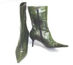 Vintage green leather boots-ladies leather boots-size 7 womens