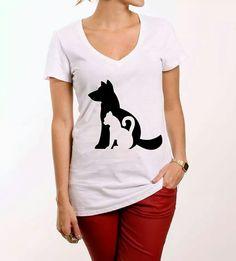 Camiseta gato+cachorro