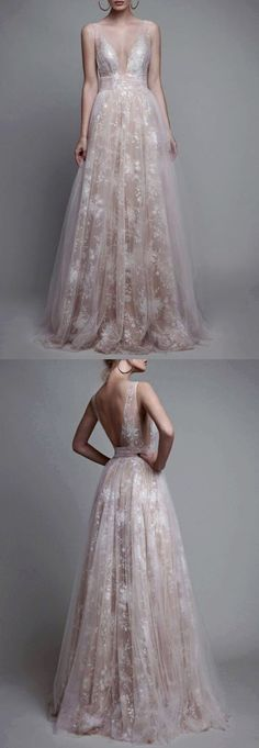 evening dresses, prom dresses, champagne prom party dresses, sexy deep v-neck evening gowns