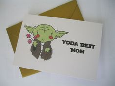 Handmade Stars Wars Birthday Card for mum Yoda best mum! Would make a funny birthday card for those Star Wars fans, Yoda lovers, fans of puns!  You will receive a 4 x 6 card on 200gsm white card and matching gold envelope.