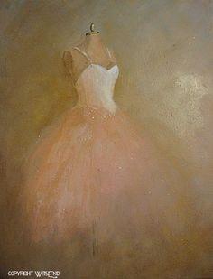 """Once, A Ballerina"", ballet Tutu painting original ooak canvas still life fashion vintage ballerina art  FREE usa shipping. by WitsEnd, via Etsy."
