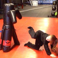 "Kerri performing a drop rear thrust kick to ""Stumpy""! #martialarts #karate #judo #jiujitsu #aikido #shorinryu #nagewaza #sparring #kumite #fighting #selfdefense #blocking #punching #striking #kicking #throwing #falls #rolls #mma #campbells #kickboxing #copiague #shihanmike"