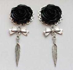 ee8d8c236 Earrings Black rose bow and feather earrings party by shopragdoll Prom  Earrings, Feather Earrings,