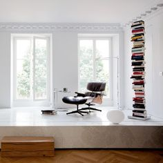 Book tower and Eames chaise. Pin if you like the design :) #booktower #books #design