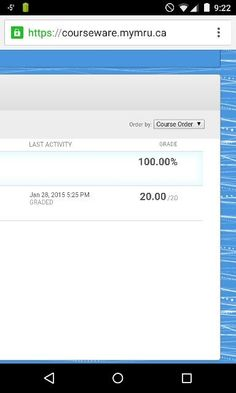 My first grade for the term and it's at 100%! Finance as well, which is a troublesome class for me haha.