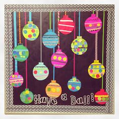 """First Grade Blue Skies: Easy Ornament Bulletin Board Freebie and Blend Friends Update! """"hope you have a ball this holiday season! Preschool Christmas, Noel Christmas, Christmas Activities, Christmas Crafts For Kids, Christmas Projects, Christmas Themes, Holiday Crafts, Christmas Ornament, Christmas Classroom Door Decorations"""