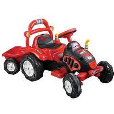 Lil-Rider-The-King-Tractor-Trailer-Battery-Operated-Ride-on-Red-Yellow-New