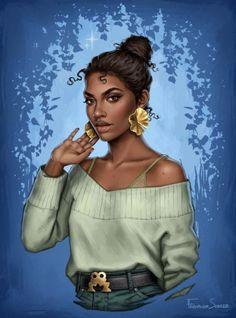 Meine Disney Zeichnung - Тиана (Принцесса и лягушка) Black Girl Art, Black Women Art, Black Girl Magic, Black Art, Black Girl Cartoon, Black Girls, Disney Fan Art, Princesse Disney Swag, Heros Disney