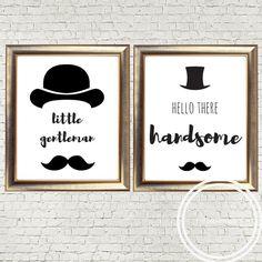 little gentleman, hello handsome, hipster nursery, monochrome nursery, modern nursery, kids room, digital print, boys nursery, baby gift