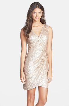 Women's Hailey by Adrianna Papell Sequin Faux Wrap Dress - Nordstrom Brown Bridesmaid Dresses, New Years Eve Dresses, Cheap Party Dresses, Cocktail Gowns, Champagne Cocktail Dress, Faux Wrap Dress, Nordstrom Dresses, Dress Me Up, Sequin Dress