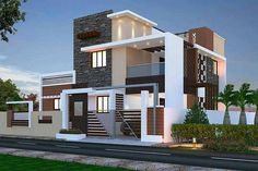 Two floors house. 3 Storey House Design, Bungalow House Design, House Front Design, Design Exterior, Facade Design, Villa Design, Layouts Casa, Modern Small House Design, Affordable House Plans