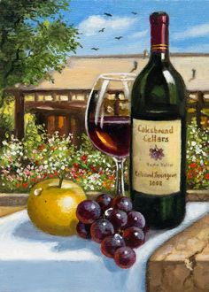 Cakebread Cellars by Imre Buvary. Gallery Wrapped Canvas Giclee *This original oil has sold. Oil Painting App, Wine Painting, Bottle Painting, Painting Tips, Wine Cork Art, Wine Art, Cakebread Cellars, Printed Glass Splashbacks, Painted Wine Bottles