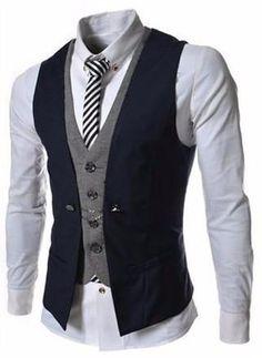 New Autumn Men Vest Suit Waistcoats British Style Casual Blazer False Two Vest Double Breasted Mens Slim Fit Dress Suit Vests Casual Mode, Men's Waistcoat, Mens Suit Vest, Vest Jacket, Business Mode, Business Formal, Business Casual, La Mode Masculine, Herren Outfit